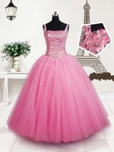 High Quality Sequins Ball Gowns Kids Pageant Dress Baby Pink Straps Tulle Sleeveless Floor Length Lace Up