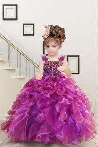 Mermaid Straps Sleeveless Organza Pageant Dress for Teens Beading and Ruffles Lace Up