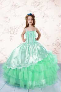 Sleeveless Organza Floor Length Lace Up Little Girls Pageant Dress in Apple Green with Embroidery and Ruffled Layers
