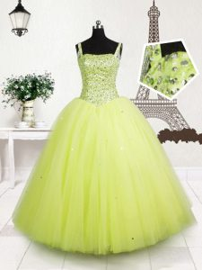 Yellow Green Straps Neckline Beading and Sequins Child Pageant Dress Sleeveless Lace Up