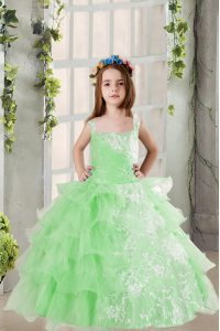 High Class Lace and Ruffled Layers Little Girl Pageant Gowns Apple Green Lace Up Sleeveless Floor Length