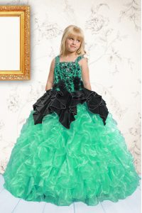 Stunning Sleeveless Floor Length Beading and Pick Ups Lace Up Kids Formal Wear with Apple Green