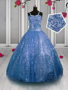 Stylish Sequins Straps Sleeveless Lace Up Little Girl Pageant Gowns Baby Blue Sequined