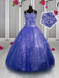 Discount Sleeveless Lace Up Floor Length Beading and Sequins Girls Pageant Dresses