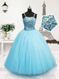 Perfect Turquoise Tulle Zipper Spaghetti Straps Sleeveless Floor Length Child Pageant Dress Beading and Sequins