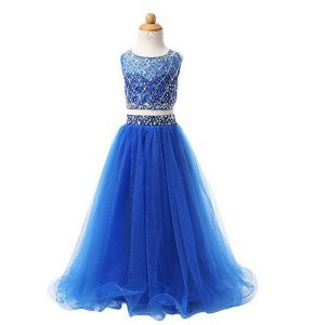 Scoop Floor Length Zipper Flower Girl Dresses Blue for Party and Wedding Party with Beading