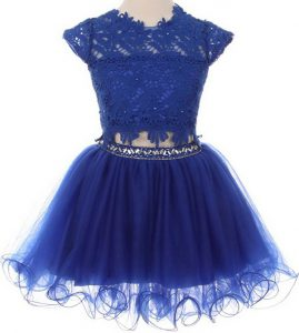 Classical Scoop Cap Sleeves Mini Length Beading and Lace Zipper Flower Girl Dresses for Less with Blue