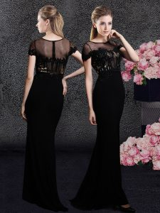 Latest Black Column/Sheath Elastic Woven Satin Scoop Short Sleeves Appliques and Sequins With Train Zipper Dress for Pro