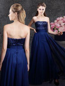 Navy Blue Chiffon Zipper Strapless Sleeveless Floor Length Evening Dress Sequins