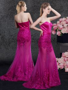 Admirable Sweep Train Mermaid Prom Dress Fuchsia Sweetheart Satin and Tulle Sleeveless Floor Length Zipper