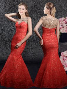 Mermaid Red Bateau Neckline Beading and Lace Prom Dress Cap Sleeves Zipper