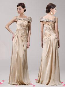 Custom Design Empire Champagne Asymmetric Elastic Woven Satin Sleeveless Floor Length Side Zipper