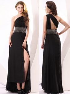 Delicate One Shoulder Sleeveless Backless Floor Length Beading Prom Party Dress