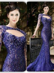 Mermaid Purple Long Sleeves Tulle Brush Train Zipper Hoco Dress for Prom