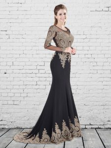 Dynamic Mermaid Elastic Woven Satin Scoop Long Sleeves Brush Train Lace Up Appliques Dress for Prom in Black