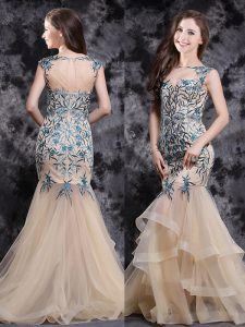 Mermaid Champagne Sleeveless Brush Train Appliques and Ruffles With Train Homecoming Dress