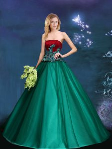 Most Popular Sleeveless Floor Length Appliques Lace Up Quinceanera Gown with Dark Green