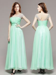 Attractive Beading Evening Party Dresses Apple Green Zipper Sleeveless Ankle Length