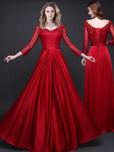 Wine Red Long Sleeves Elastic Woven Satin Lace Up Evening Dresses for Prom