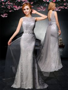 Chic Grey Column/Sheath Lace and Belt Prom Evening Gown Backless Tulle and Lace Sleeveless With Train