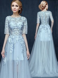 Lovely Scoop Light Blue Empire Appliques Party Dress Wholesale Zipper Tulle Half Sleeves With Train