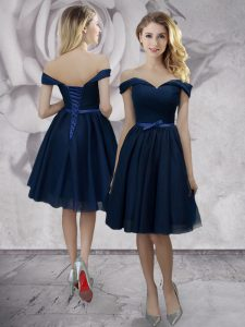 Navy Blue Empire Off The Shoulder Sleeveless Chiffon Knee Length Lace Up Bowknot Cocktail Dresses