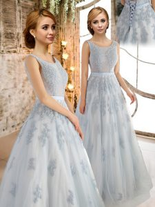 Scoop Grey Tulle Lace Up Prom Gown Sleeveless Floor Length Appliques