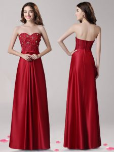 Spectacular Elastic Woven Satin Sweetheart Sleeveless Zipper Beading and Appliques and Bowknot in Wine Red
