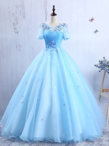 Fashion Scoop Appliques and Ruching Baby Blue Lace Up Short Sleeves Floor Length