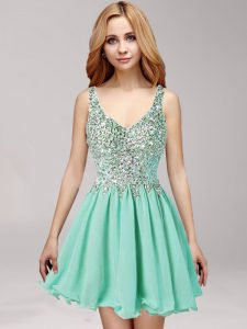 Apple Green Side Zipper Straps Beading and Ruffles Evening Gowns Chiffon Sleeveless