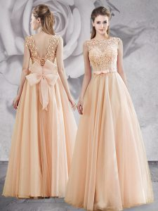 High End Bateau Sleeveless Tulle Prom Gown Appliques and Bowknot Lace Up
