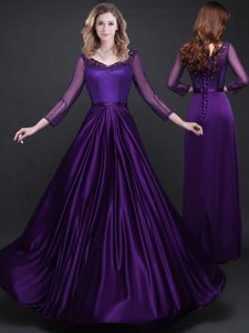 Purple Lace Up Appliques and Belt Cocktail Dress Long Sleeves