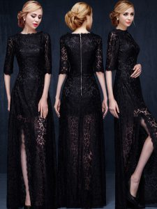 Black Empire Scoop Half Sleeves Lace Floor Length Zipper Lace Evening Gowns