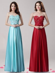 Sumptuous Aqua Blue Elastic Woven Satin Zipper Sweetheart Sleeveless Floor Length Prom Evening Gown Beading and Applique