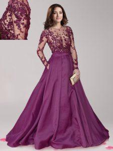 Dark Purple Scoop Neckline Beading Prom Party Dress Long Sleeves Zipper