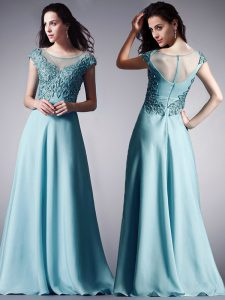 Scoop Cap Sleeves Zipper Floor Length Appliques Prom Gown