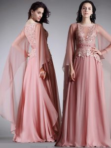 Comfortable Scoop Floor Length Pink Chiffon 3 4 Length Sleeve Lace and Belt