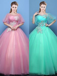 Pink and Turquoise Sweet 16 Quinceanera Dress Military Ball and Sweet 16 and Quinceanera and For with Appliques Scoop Ha