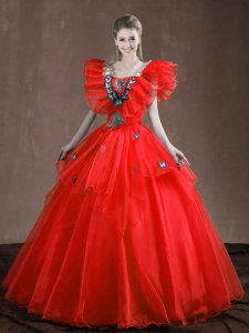 Floor Length Ball Gowns Sleeveless Red 15th Birthday Dress Lace Up