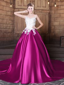 Customized Scoop Sleeveless Elastic Woven Satin Quinceanera Dresses Appliques Court Train Lace Up