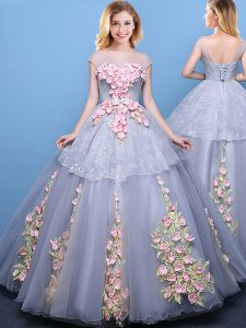 Captivating Scoop Tulle Cap Sleeves Floor Length Quinceanera Dresses and Appliques