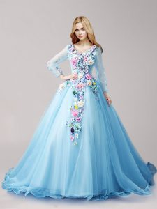 Sweet Long Sleeves Brush Train Hand Made Flower Lace Up Quinceanera Gowns