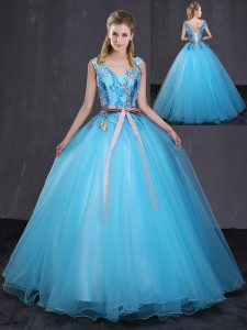 Floor Length Ball Gowns Sleeveless Blue Ball Gown Prom Dress Lace Up