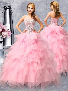 Lovely Rose Pink Sleeveless Organza Lace Up Sweet 16 Dress for Military Ball and Sweet 16 and Quinceanera