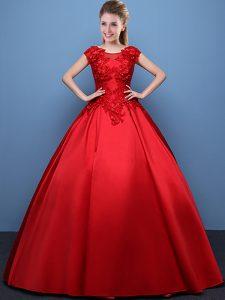 Low Price Scoop Red Cap Sleeves Appliques Floor Length 15th Birthday Dress