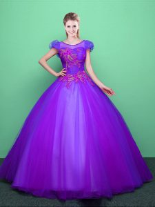 Scoop Purple Short Sleeves Floor Length Appliques Lace Up Quinceanera Gown