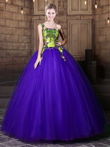 One Shoulder Sleeveless Pattern Lace Up Quinceanera Gowns