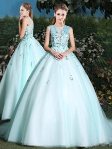 Sweet Scoop Light Blue Sleeveless Beading and Appliques Lace Up Quinceanera Gown