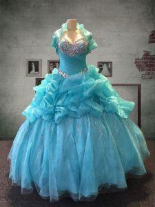 Spectacular Pick Ups Ball Gowns Vestidos de Quinceanera Aqua Blue Sweetheart Organza and Tulle Sleeveless Floor Length L