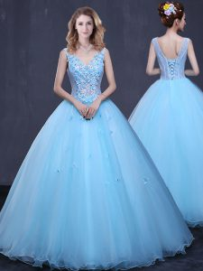 Romantic Floor Length Lace Up 15th Birthday Dress Light Blue for Military Ball and Sweet 16 and Quinceanera with Lace an